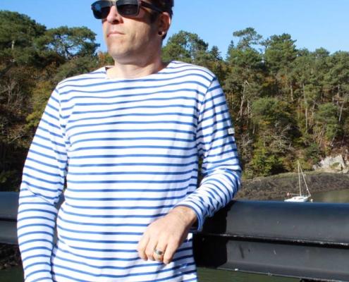Marinière adulte mixte blanc bleu roi