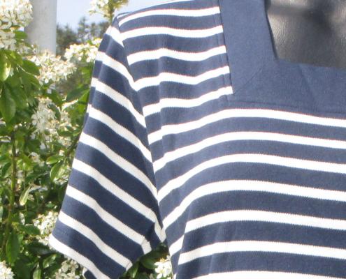 Marinière - col carré - bleu marine blanc -Le Petit Breton