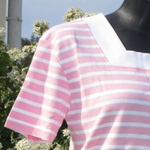 Marinière - col carré - rose blanc -Le Petit Breton
